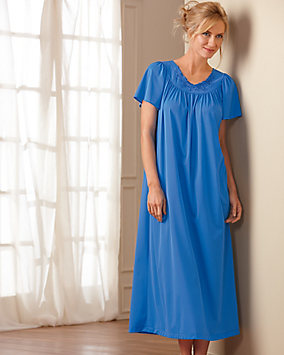 Embroidered Roses Long Nightgown