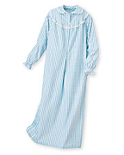 Short Striped Flannel Nightgown