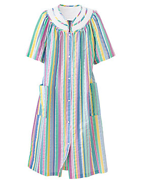 Rainbow-Stripe Plissé Snap Coat