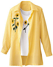 Yellow Gingham Big Shirt with FREE TANK