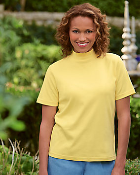 UltraSofts® Cotton-polyester Mock Top