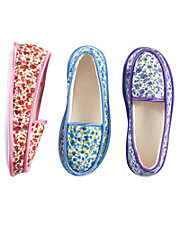 Floral Print Moccasin Slippers