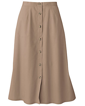 Twill Button Front Skirt