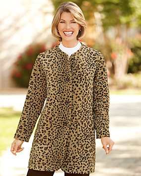 Leopard Print Fleece Coat