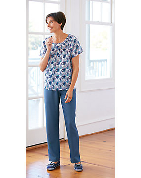Silky Denim Pull-On Pants