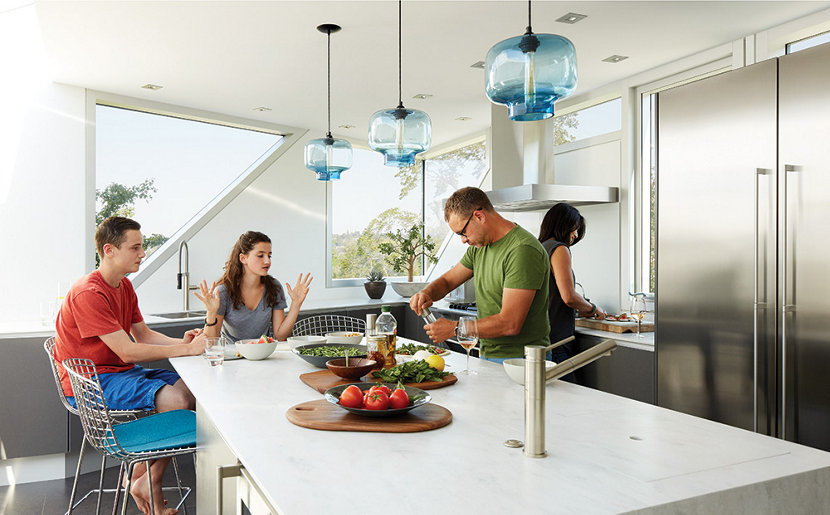 glass pendant lighting for kitchen pb classic schoolhouse glass modern lighting for kitchens is always exciting because you can install in so many ways three oculo pendant lights sapphire glass continue the homes lighting kitchens bedrooms and dining rooms all one