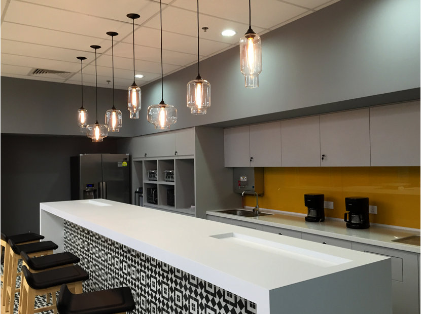 various pendant light glass shapes unite in an office breakroom rh nichemodern com With a 4 Way Switch Wiring Multiple Lights Wiring Multiple Lights Single Switch