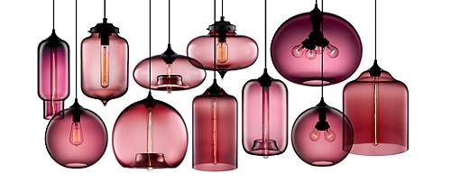 Hand-blown modern glass pendant lighting in Plum
