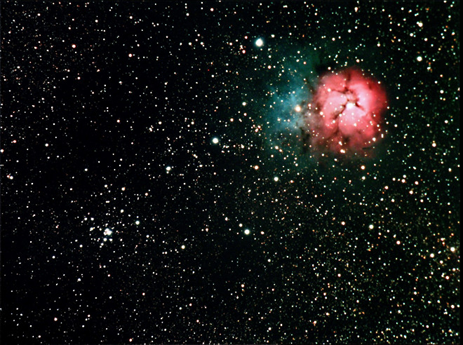 M20 and M21, The Trifid Nebula/Open Cluster