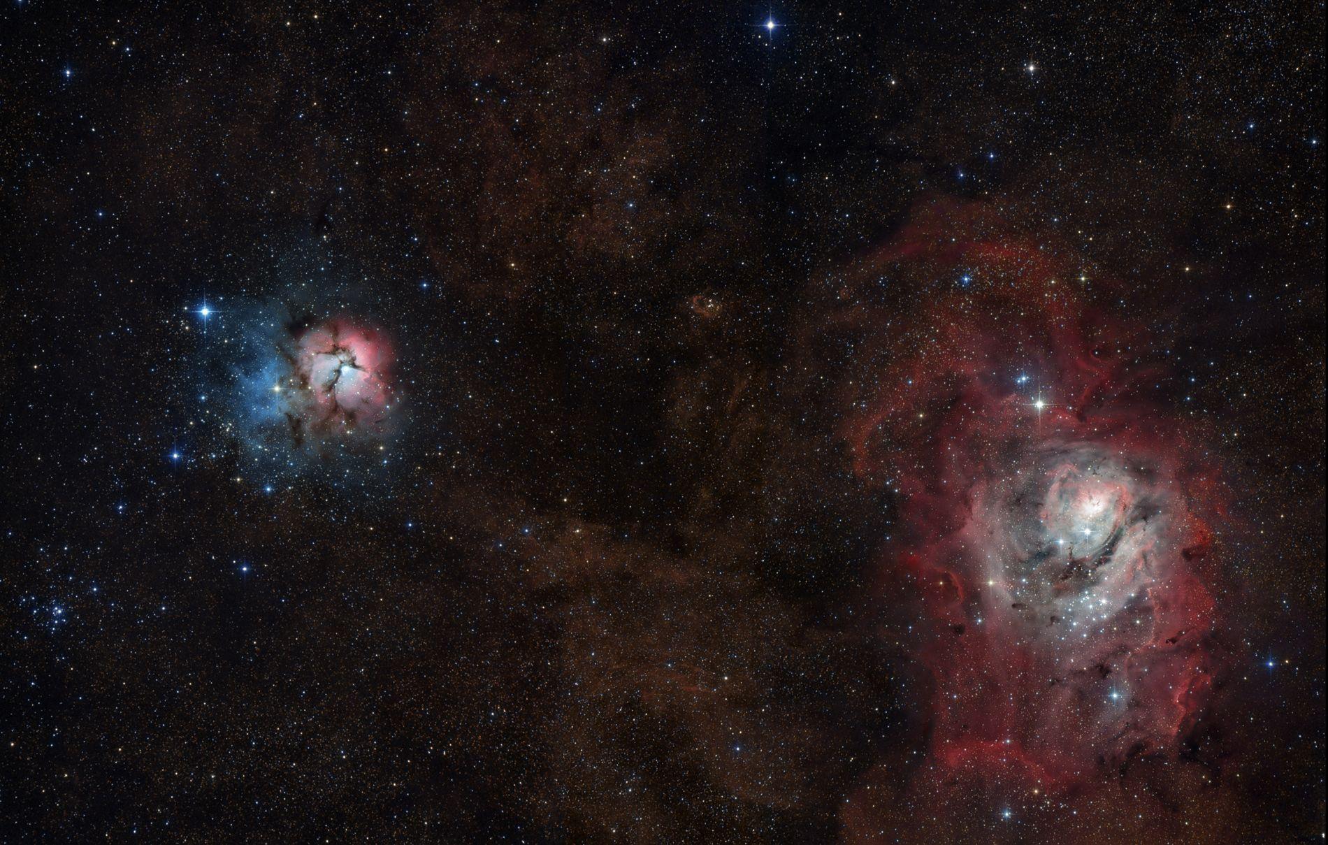 Trifid to Lagoon Nebula Mosaic