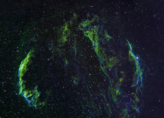 Veil Nebula Structure, A Supernova Remnant (3 Panel Mosaic)