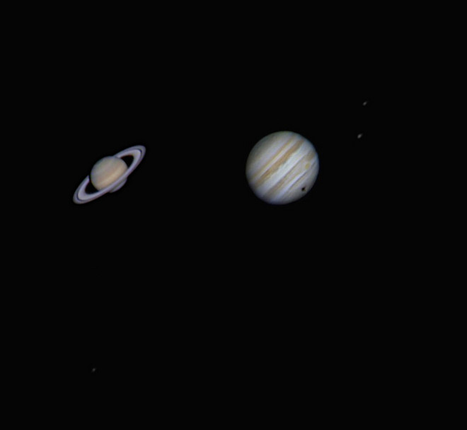 Jupiter and Saturn with Ganymede shadow transit at US Store