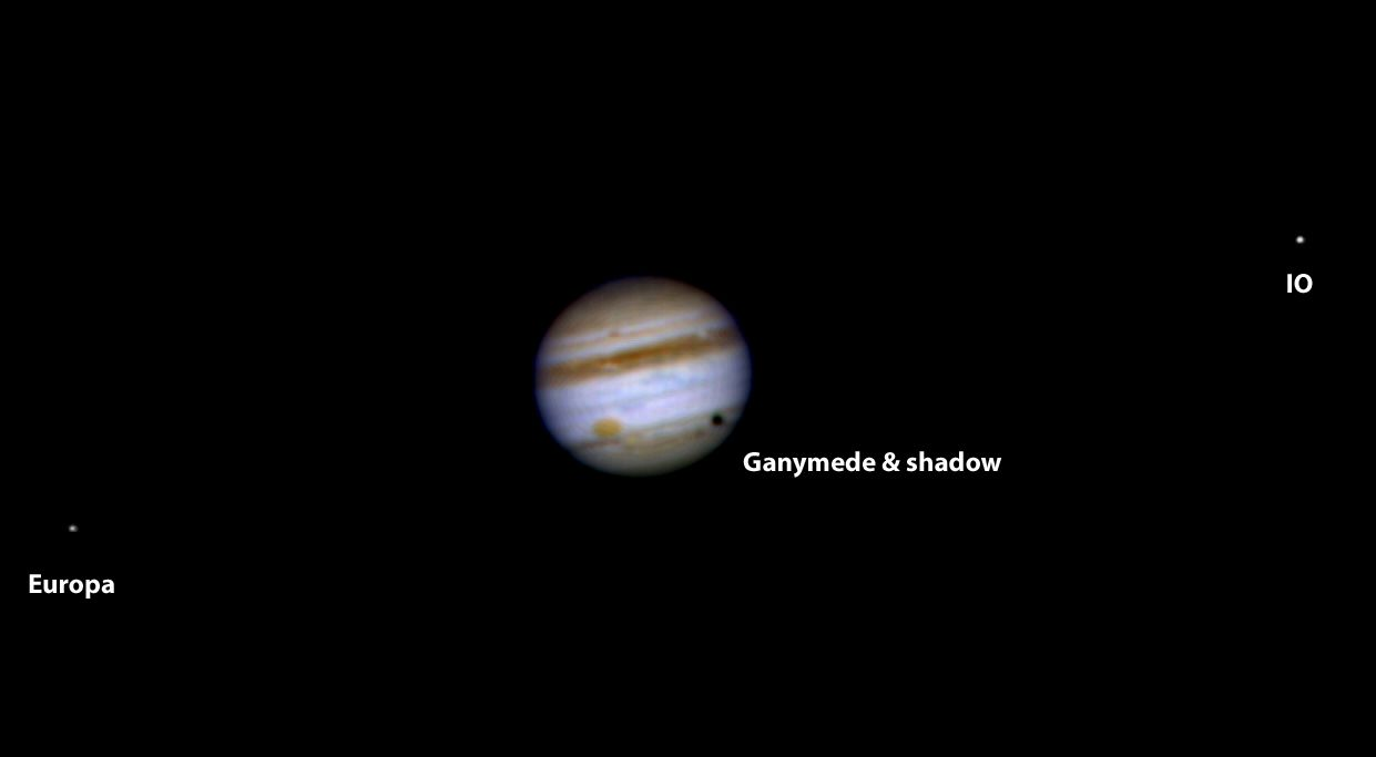 Jupiter with Ganymede, Europa and IO moons