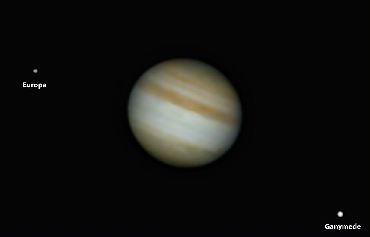 Jupiter with Ganymede and Europa