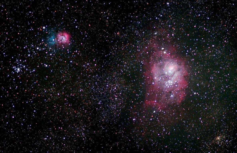 M8 (Lagoon Nebula), M20 (Trifid Nebula) and M21