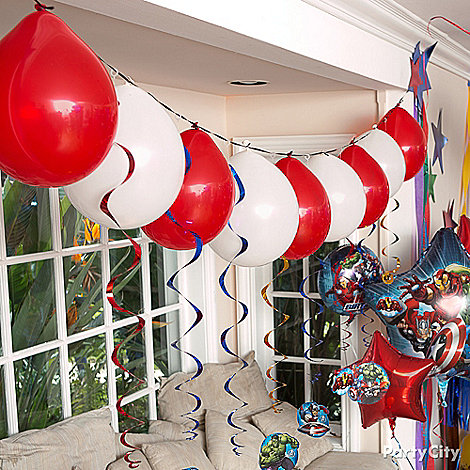 Avengers party ideas guide party city for Balloon decoration ideas no helium