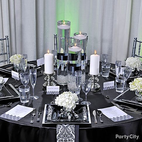 Home Wedding Decorations Black And White | Elegant Black an