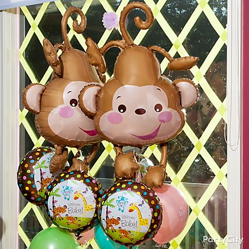 Throw an adorable jungle animals baby shower party city - Monkey balloons for baby shower ...