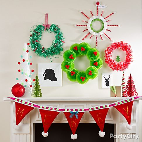 Christmas mantel decorating ideas party city for Home made christmas decorations