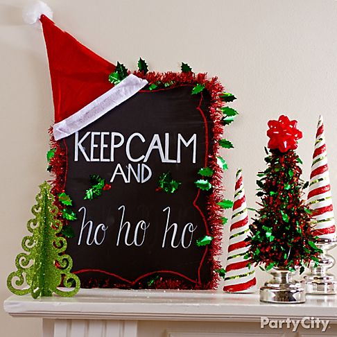 christmas mantel decorating ideas party city. Black Bedroom Furniture Sets. Home Design Ideas