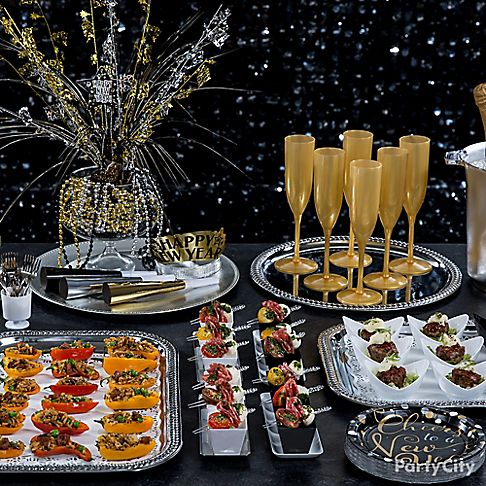 New year 39 s eve mini tasting ideas party city for Appetizer ideas for new years eve party