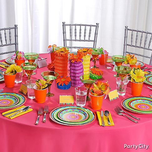 Casual Fiesta Wedding Party Decoration Ideas In Bright Colors