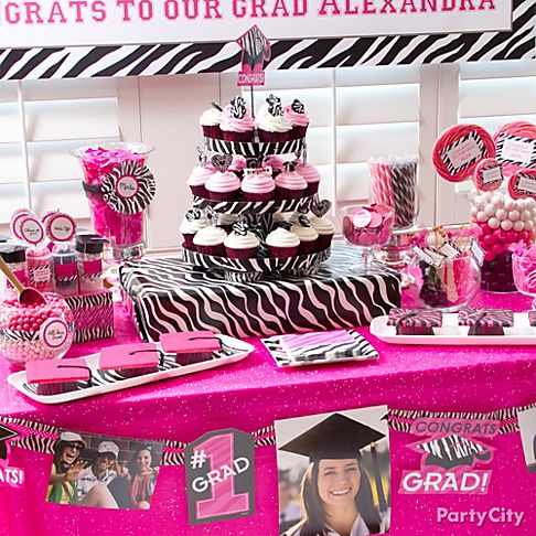 Graduation party ideas zebra graduation party ideas for Animal print party decoration ideas