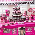 Pink & Zebra Graduation Dessert Table Ideas