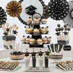 Classy Grad Treats Ideas in Black, Gold & Silver