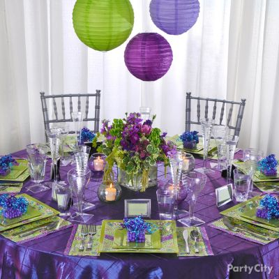 Wedding Reception Decorating Ideas in Romantic Purple and Green