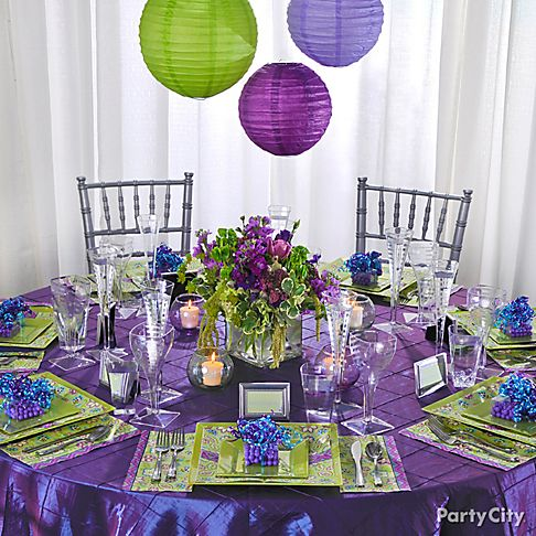 Purple Flower on Reception Decorating Ideas In Romantic Purple And Green   Party City