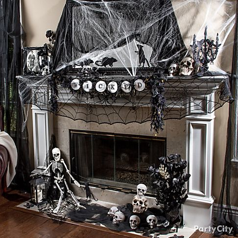 Hair raising halloween mantel decorating ideas party city for How to decorate your fireplace for halloween