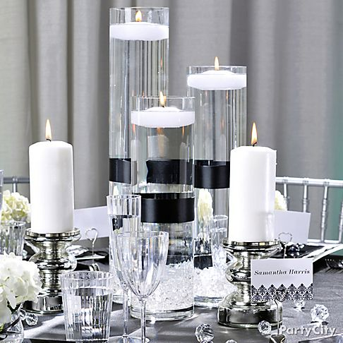 White party decorations party favors ideas for Black and white reception tables