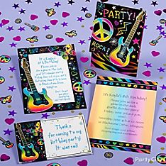 Neon Doodle Party Invitation Ideas