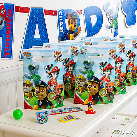 Paw patrol party ideas party city for Bag decoration games