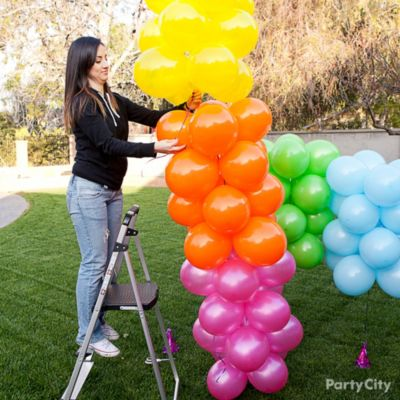 Rainbow balloon arch how to party city