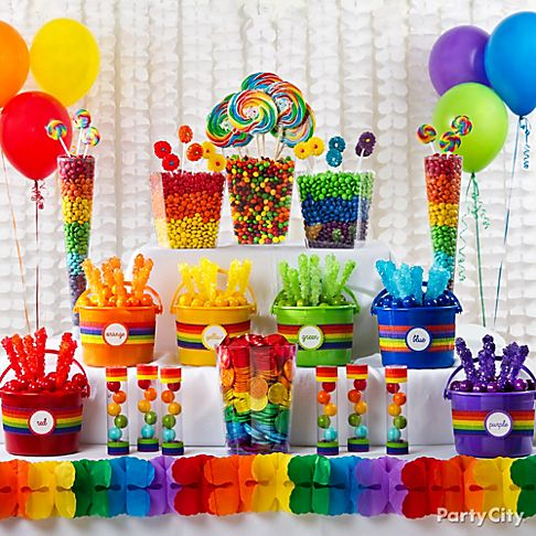 Candy Buffet Ideas Rainbow Party Ideas Party City