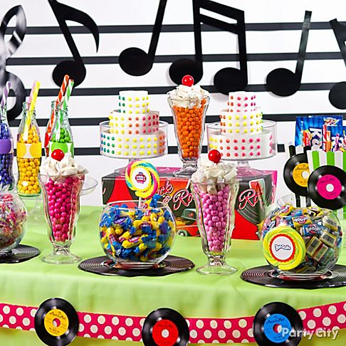 Candy buffet ideas 39 50s theme party party city for 50 s theme decoration ideas