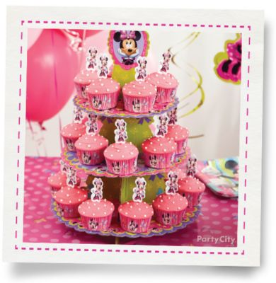 Minnie Mouse Cupcake Tower HowTo Party City