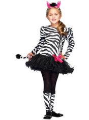 Girls Little Zebra Costume