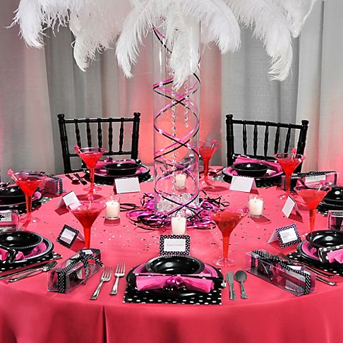 Sassy Pink Black Bachelorette Party Decoration Ideas