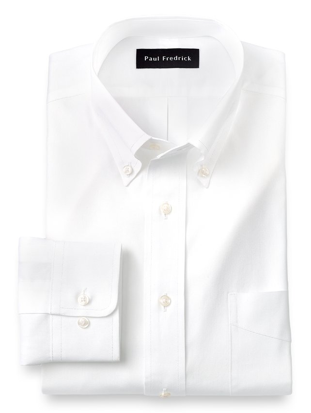 Cotton Pinpoint Oxford Button Down Collar Dress Shirt