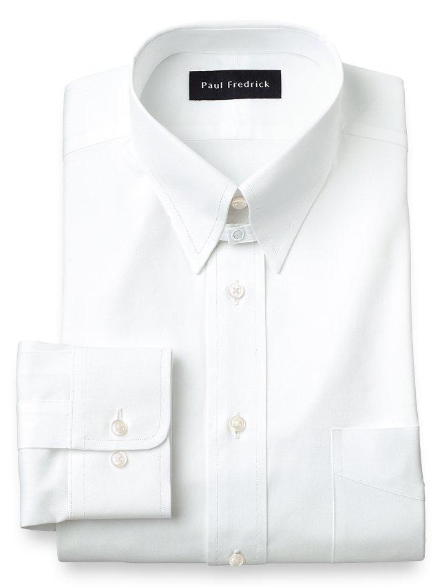 Cotton Pinpoint Oxford Snap Tab Collar Dress Shirt