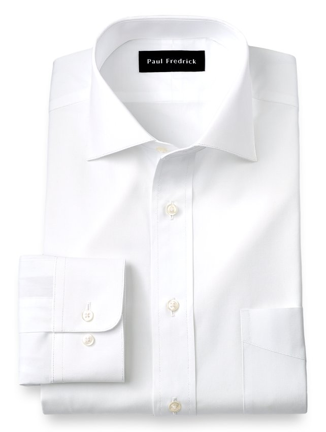 Cotton Broadcloth Cutaway Spread Collar Dress Shirt