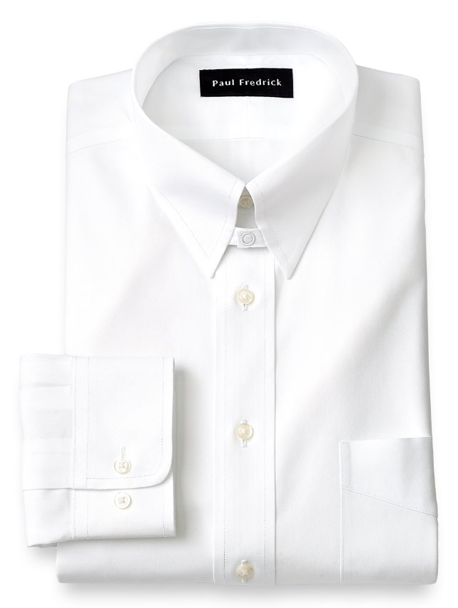 Non-Iron Cotton Pinpoint Snap Tab Collar Dress Shirt