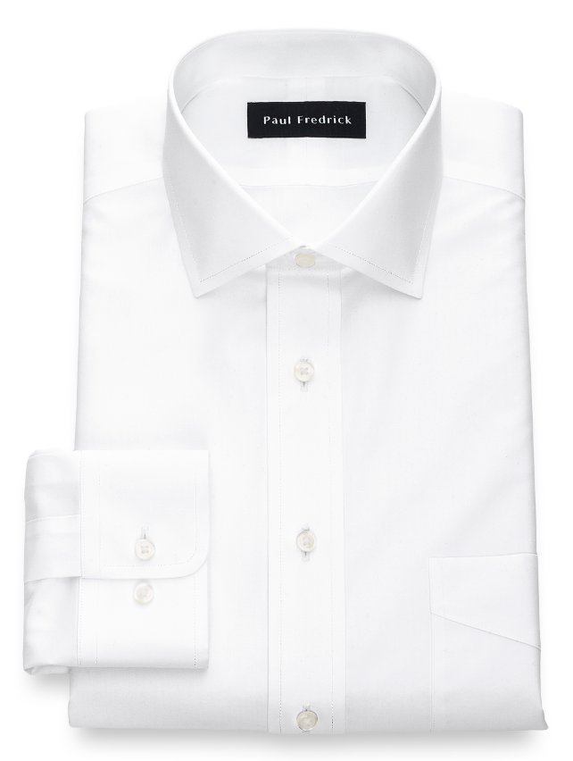 Non-Iron Cotton Broadcloth Windsor Spread Collar Dress Shirt