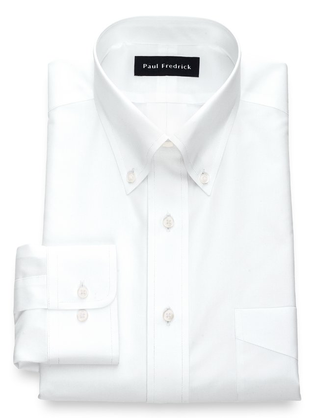 Non-Iron Cotton Broadcloth Button Down Collar Dress Shirt