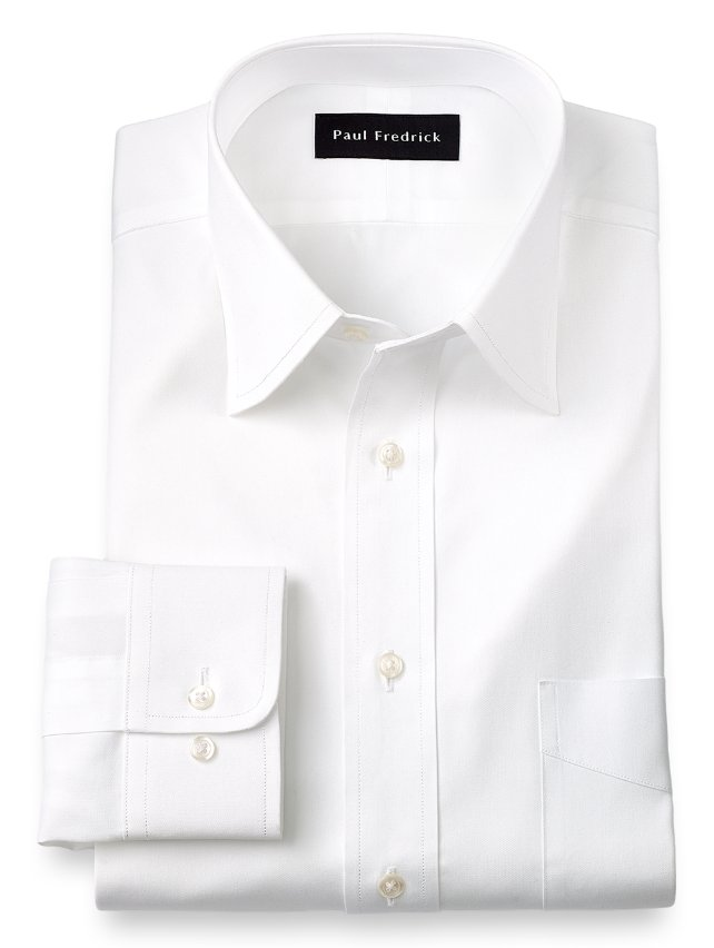 Cotton Pinpoint Oxford Varsity Spread Collar Dress Shirt