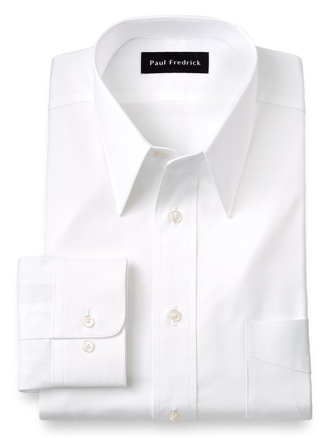 Cotton Pinpoint Oxford Edge-Stitched Straight Collar Dress Shirt