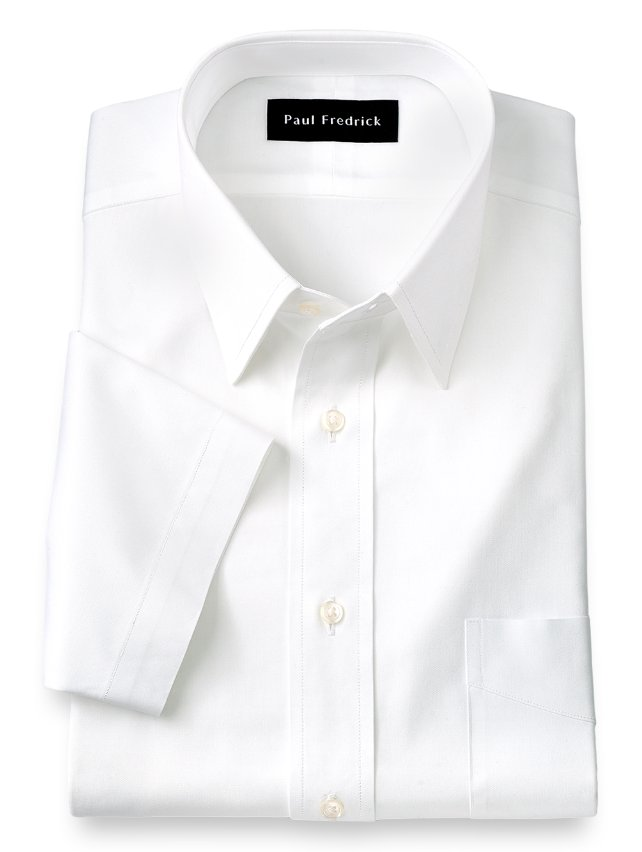 Cotton Pinpoint Oxford Straight Collar Short Sleeve Dress Shirt